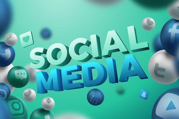 Social media-hintergrund in 3d Kostenlosen Vektoren