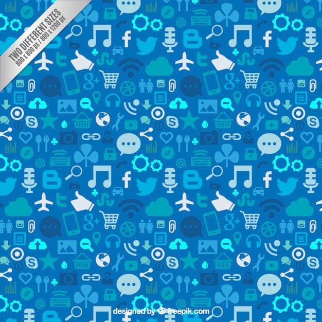 Social-media-hintergrund in blautönen Premium Vektoren