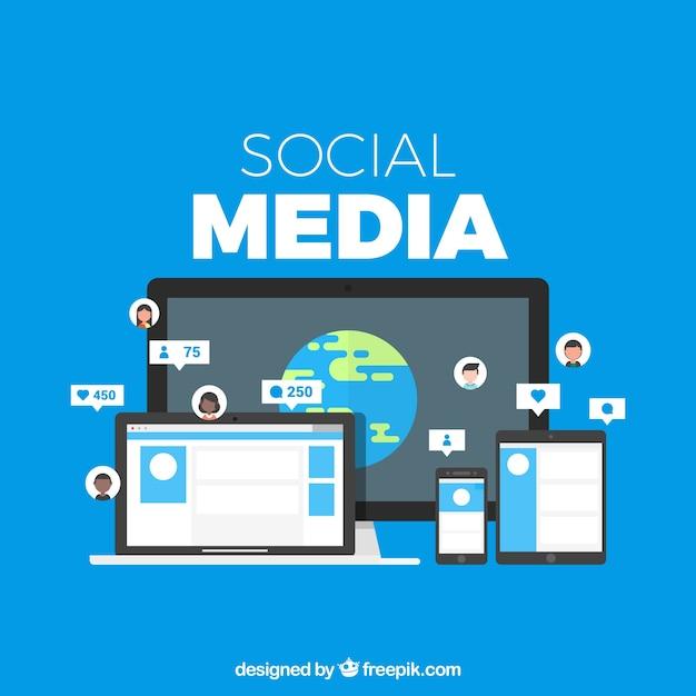 Social media-hintergrund in der flachen art Kostenlosen Vektoren