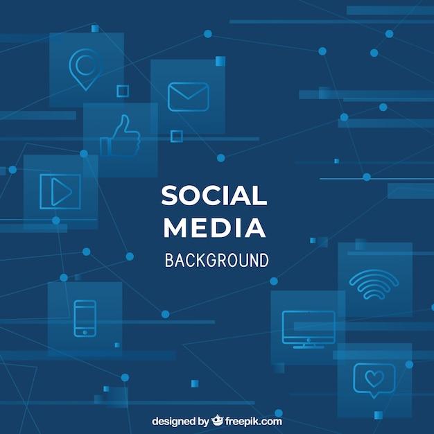 Social media hintergrund mit flachem design Premium Vektoren