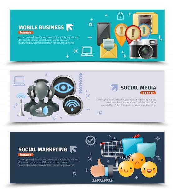 Social media horizontale banner Kostenlosen Vektoren