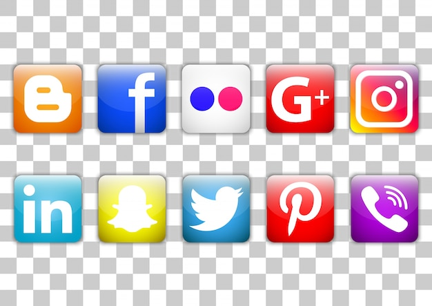 Social-media-icon-set Premium Vektoren