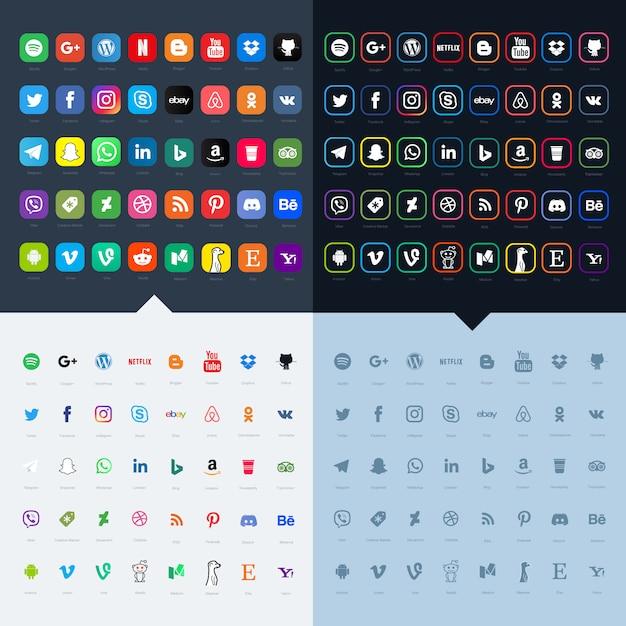 Social media-icon-sets für ihre website Premium Vektoren