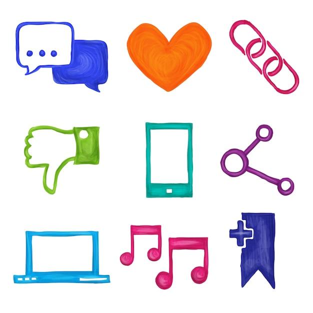 Social media icons gemalt Kostenlosen Vektoren