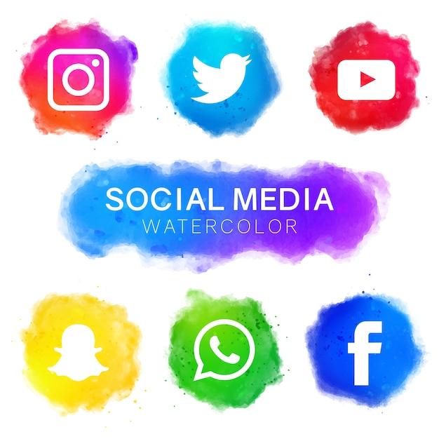 Social media icons mit aquarell design Premium Vektoren