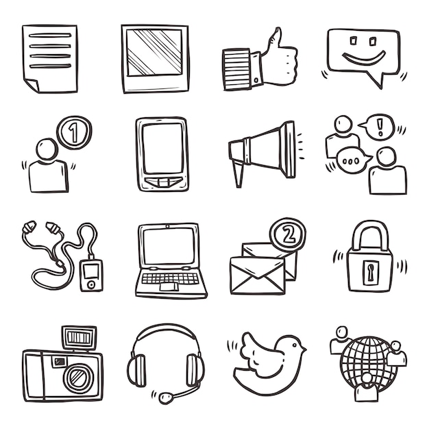 Social media icons set Premium Vektoren