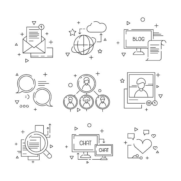 Social media-ikone, web-community-leutesymbole der gruppe lernend, linearen satz der fotoavataras zu sprechen lokalisiert Premium Vektoren