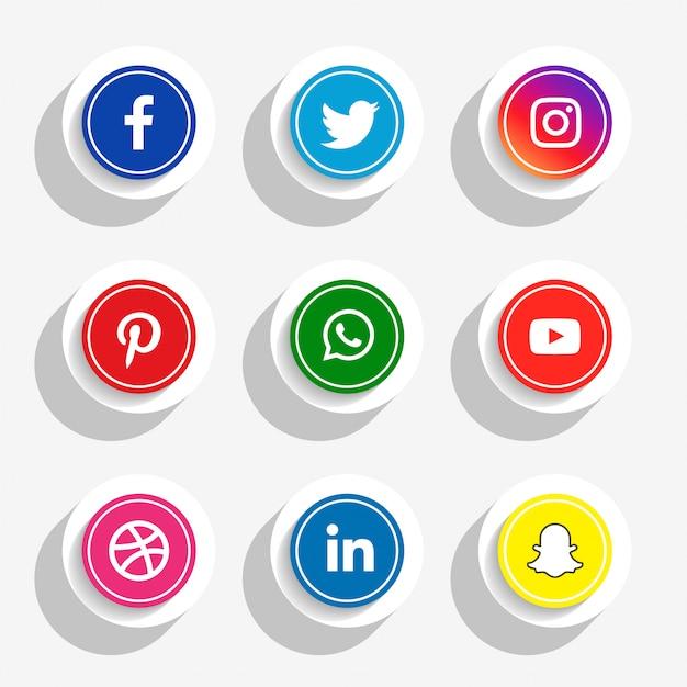 Social media-ikonen der art 3d eingestellt Kostenlosen Vektoren