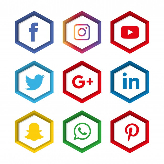 Social-media-ikonen eingestellt. logo Premium Vektoren