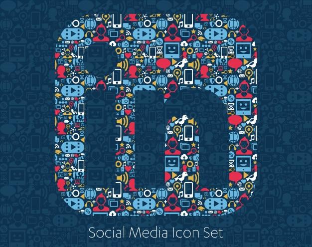 Social media-ikonen, netzwerk, computerkonzept. Premium Vektoren