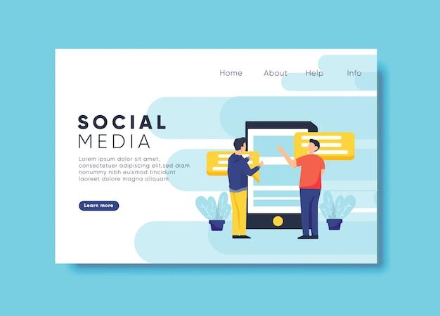 Social media-illustration für zielseitenschablone Premium Vektoren
