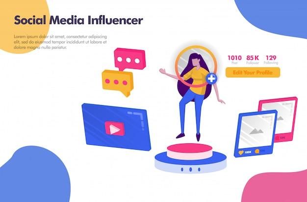 Social media influencer mit followern und icon banner Premium Vektoren