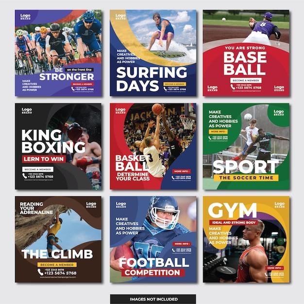Social media instagram banner (sport) Premium Vektoren