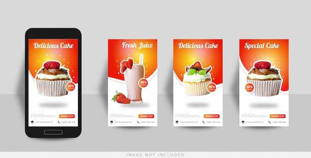 Social media instagram geschichte lebensmittelverkauf vorlage Premium Vektoren