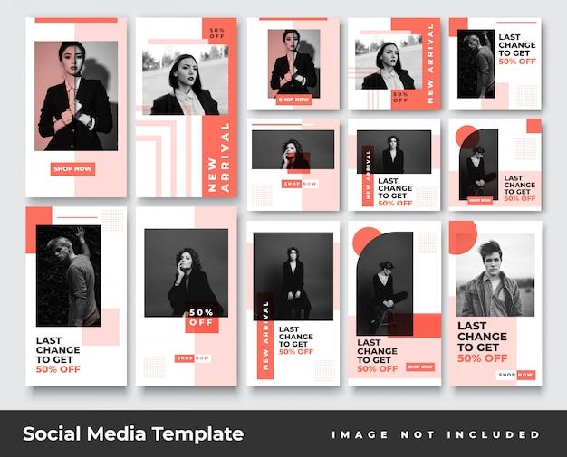 Social-media-instagram-geschichten für minimalistische mode und bundle mit feed-post-bannern Premium Vektoren