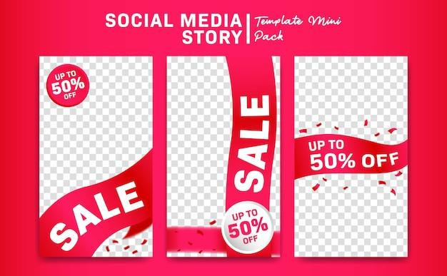 Social media instagram geschichtenrabatt-förderungsverkauf mit rosa bandfahnenschablone Premium Vektoren