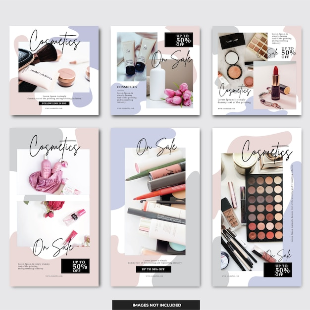 Social media instagram kosmetischer beitrag Premium Vektoren