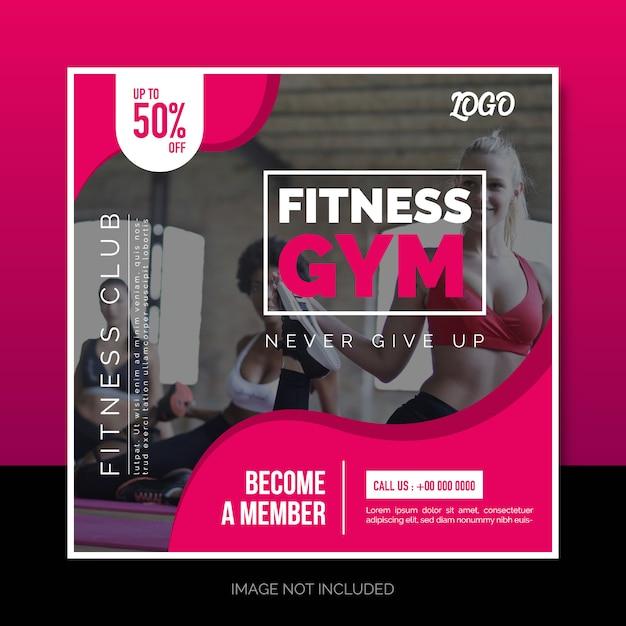 Social media instagram post oder quadratisches banner design fitness gym Premium Vektoren