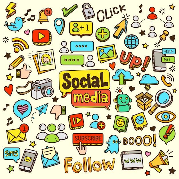 Social media-karikatur-farbgekritzel-illustration Premium Vektoren