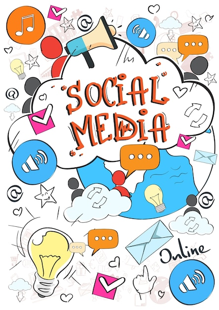 Social-media-kommunikationskonzept Premium Vektoren