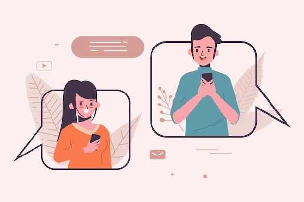 Social media konzept illustration. kommunikation Premium Vektoren