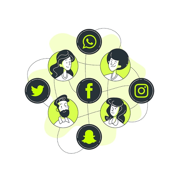 Social-media-konzept illustration Kostenlosen Vektoren