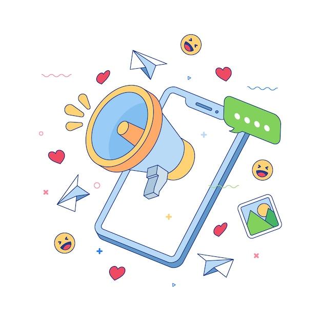 Social media-konzept mit megaphon Kostenlosen Vektoren