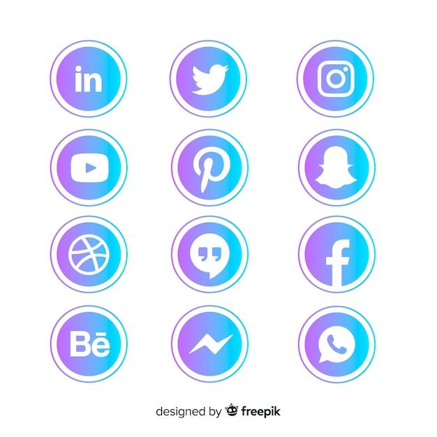 Social-media-logo-sammlung mit farbverlauf Kostenlosen Vektoren