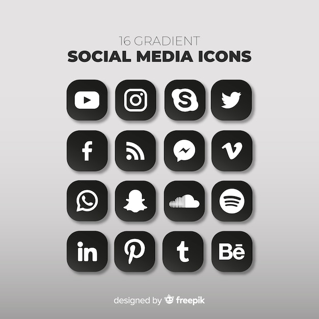 Social media-logo-sammlung Premium Vektoren