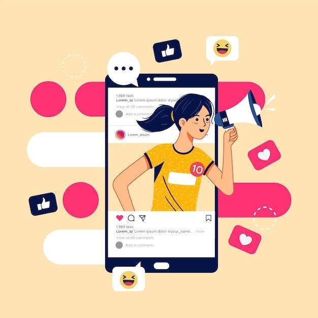 Social media-marketing auf mobilem konzept Kostenlosen Vektoren