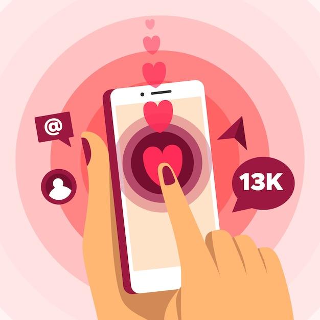 Social media-marketing-handykonzept Kostenlosen Vektoren