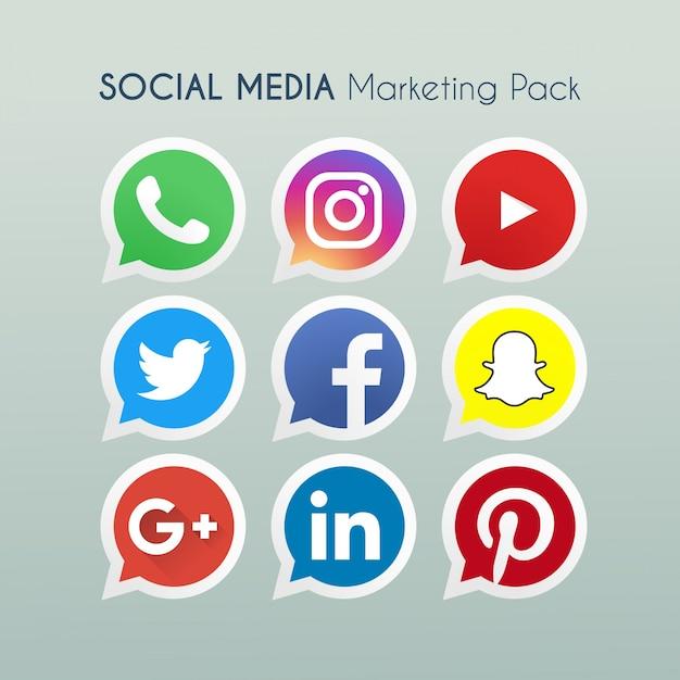 Social Media Marketing-Ikonen-Logo Vektor Kostenlose Vektoren