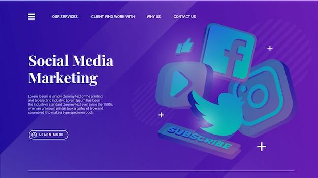 Social media-marketing-illustration mit hellem hintergrund für ui ux-design Premium Vektoren