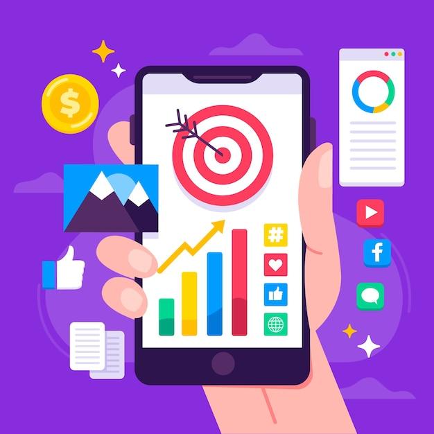 Social media-marketing-konzept auf mobile Kostenlosen Vektoren
