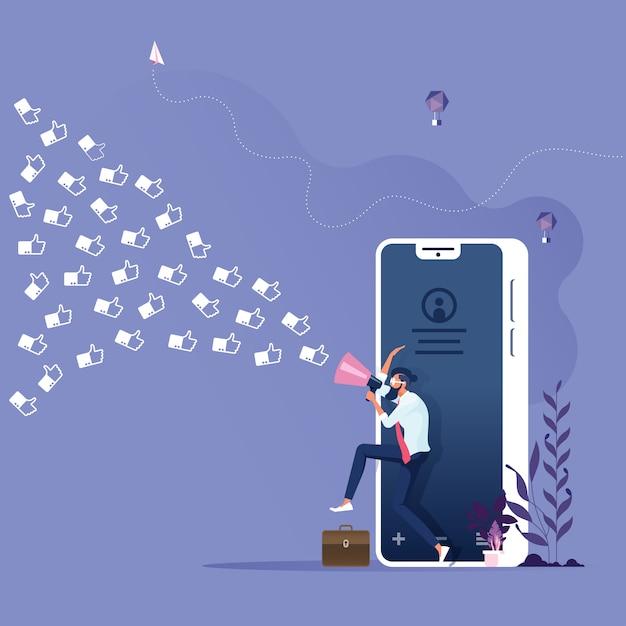 Social media marketing-konzept-geschäftsmann mit megaphon zieht kundenähnliche ikone in das geschäft Premium Vektoren