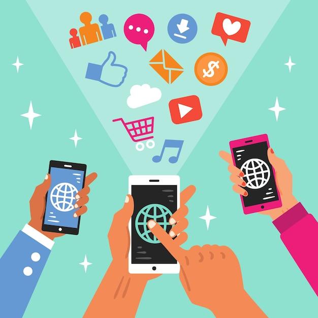 Social media marketing thema mit telefon Kostenlosen Vektoren