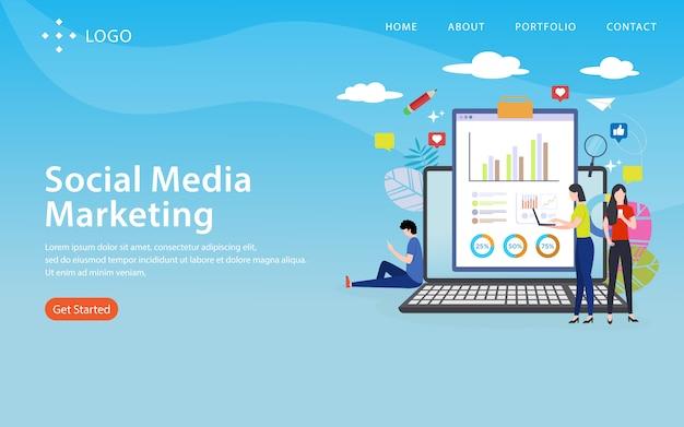 Social media-marketing, websiteschablone, überlagert, einfach zu redigieren und besonders anzufertigen, illustrationskonzept Premium Vektoren