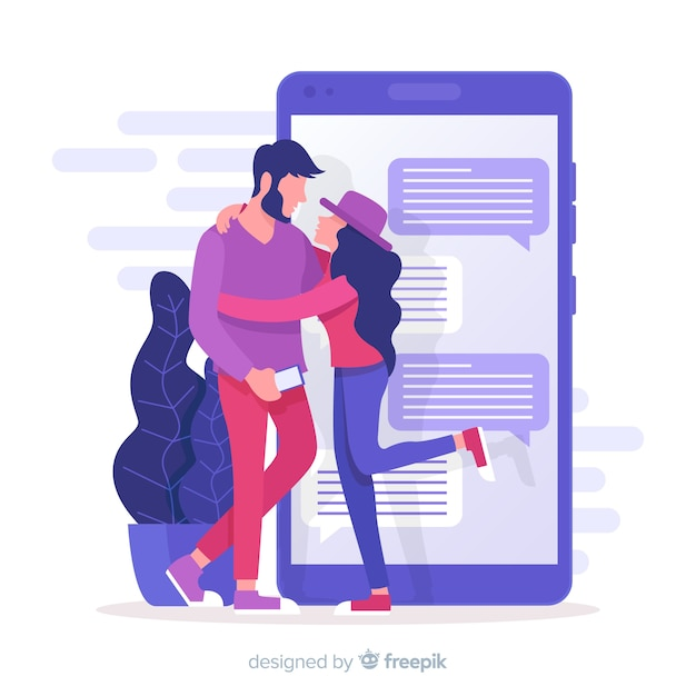 Social media mit dating-app-konzept Kostenlosen Vektoren