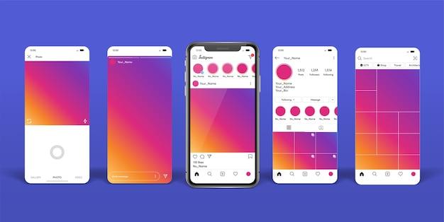 Social media mobile app vorlage auf dem smartphone Premium Vektoren