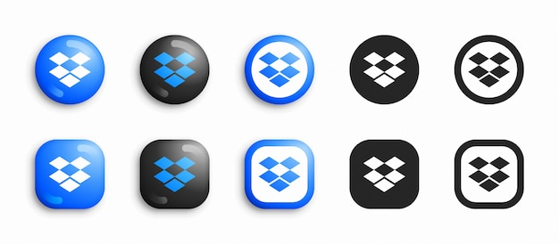 Social media modern 3d und flache icons set Premium Vektoren