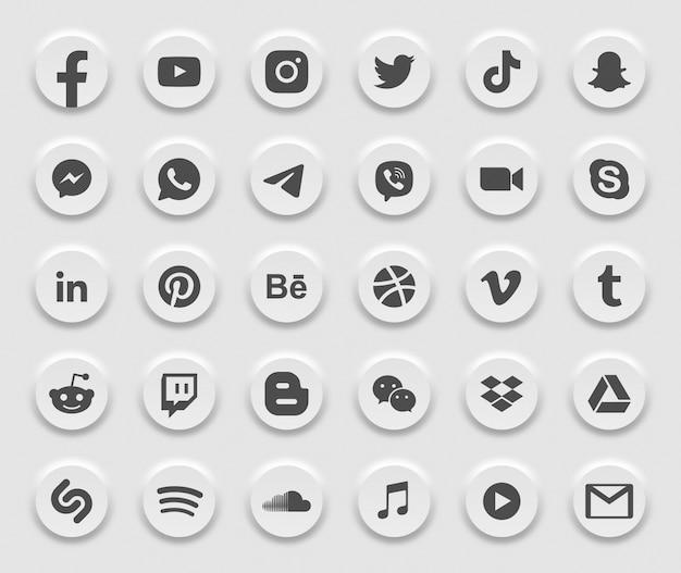 Social media modern 3d web icons set Premium Vektoren