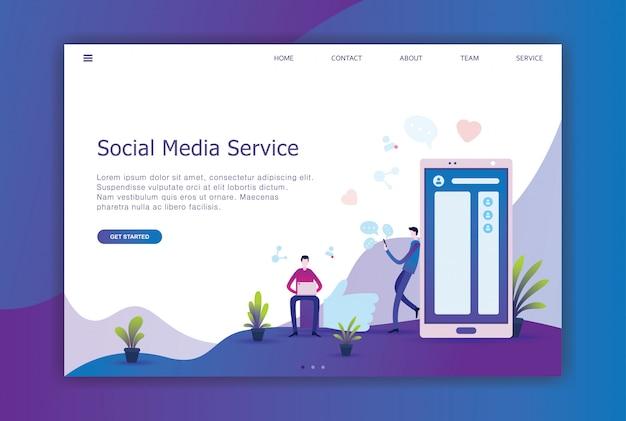 Social media modernes flaches design der landing page Premium Vektoren