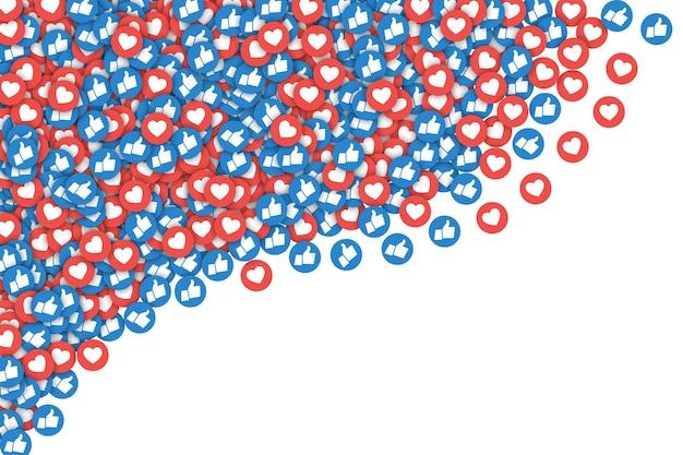 Social media network facebook verstreut wie symbole abstrakte illustration auf weißem hintergrund Premium Vektoren
