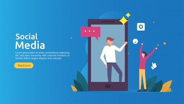 Social media-netz und influencer-konzept mit charakter der jungen leute in der flachen art Premium Vektoren