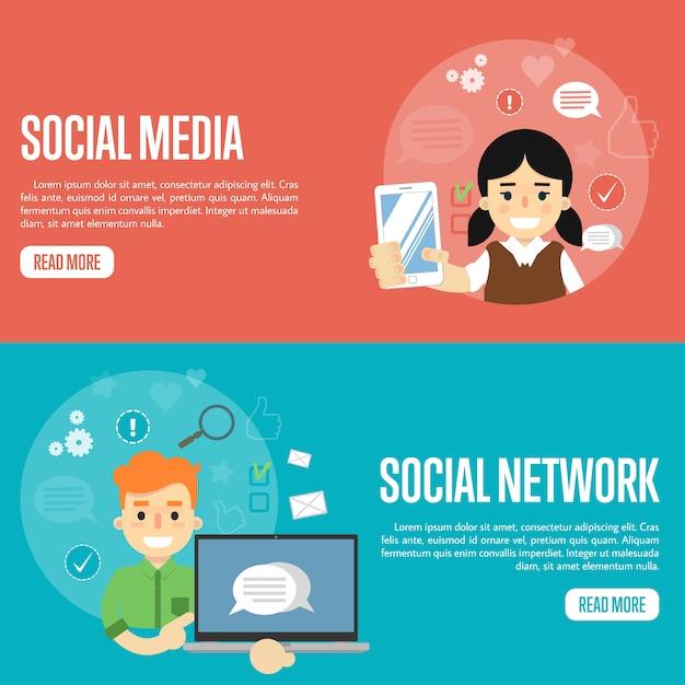 Social-media-netzwerk-banner-vorlagen Premium Vektoren