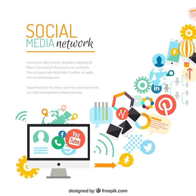 Social-media-netzwerk-hintergrund Premium Vektoren