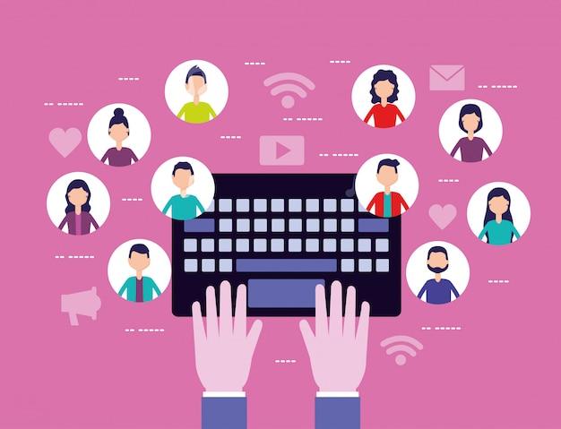 Social media netzwerk mit avataren Kostenlosen Vektoren
