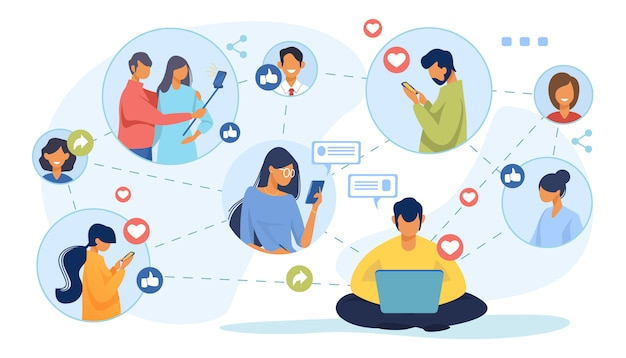 Social media netzwerk Kostenlosen Vektoren