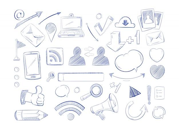 Social media-netzwerkvektor kritzelt, ikonen des internet-computerhandabgehobenen betrages Premium Vektoren