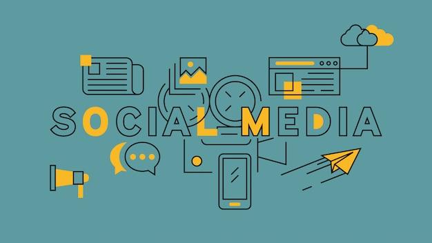 Social media-orange in der blauen linie design Premium Vektoren